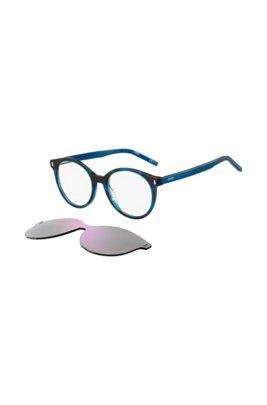 Monture optique bleu Havana avec clip violet, Assorted-Pre-Pack