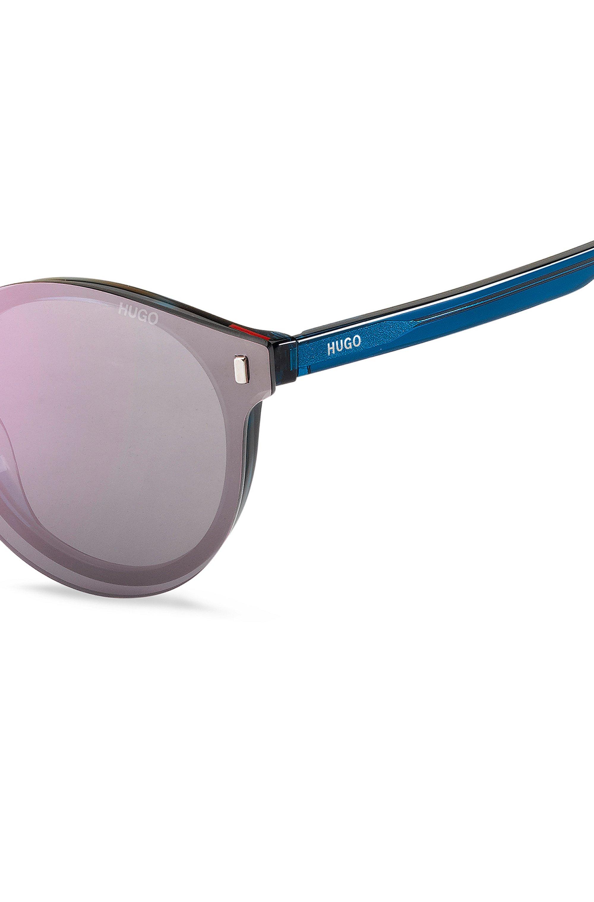 Blue-Havana optical frames with violet clip-on