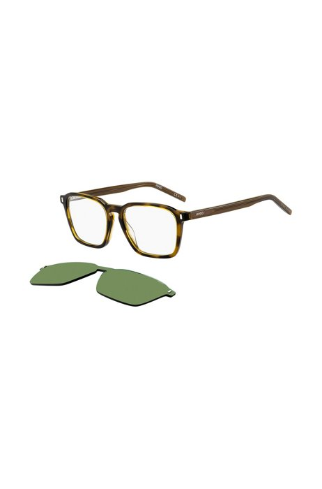 Dark-Havana optical frames with green clip-on, Assorted-Pre-Pack