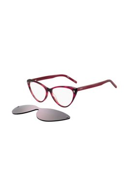 Cherry-Havana optical frames with violet clip-on, Assorted-Pre-Pack