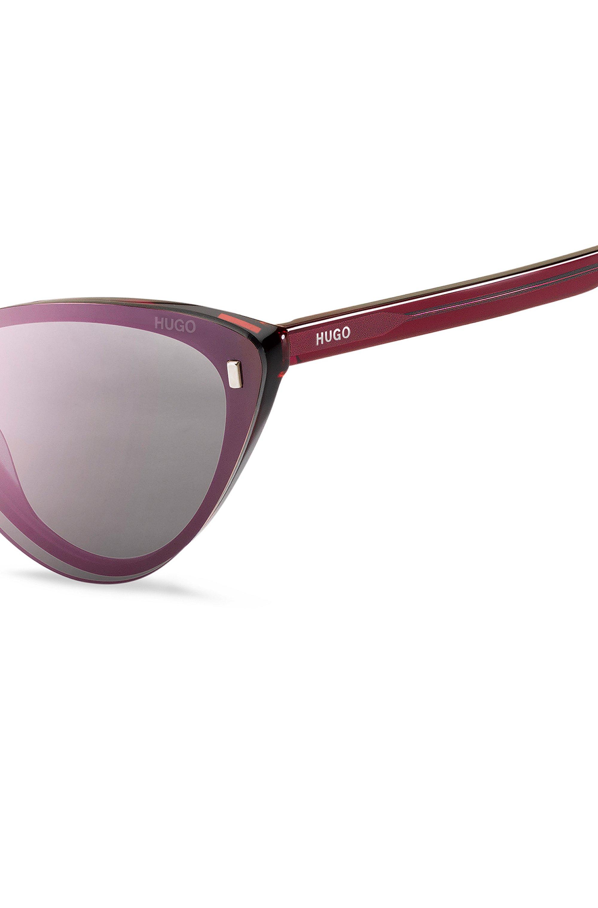 Cherry-Havana optical frames with violet clip-on