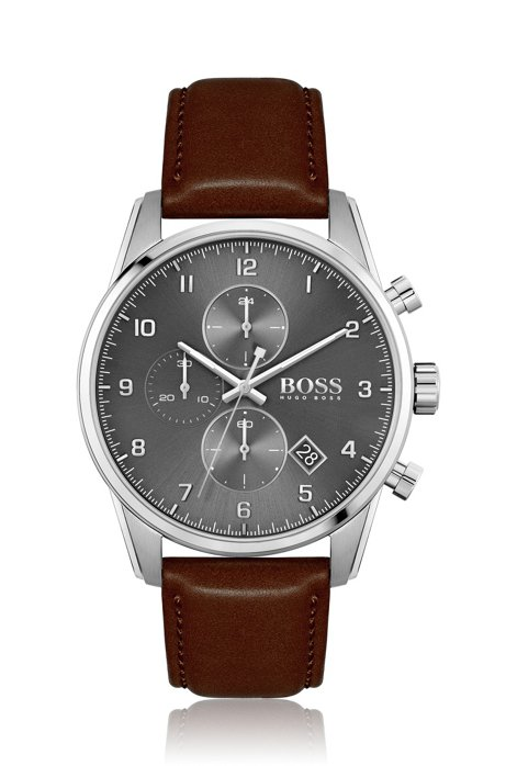 Grey-dial chronograph watch with brown leather strap, Dark Brown