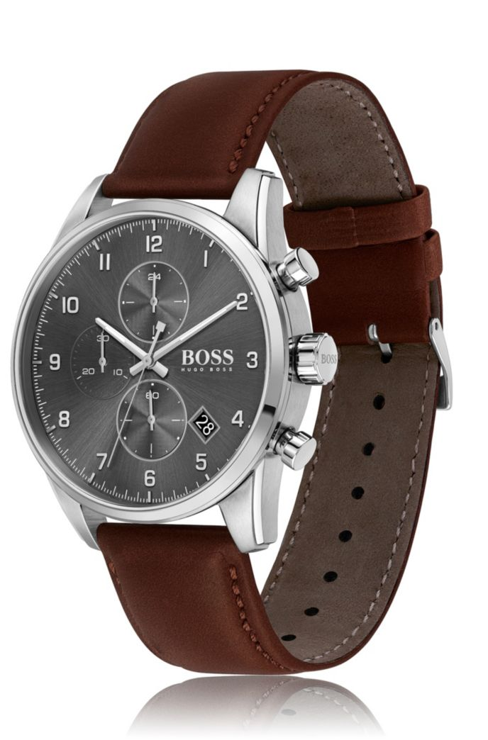 Grey-dial chronograph watch with brown leather strap