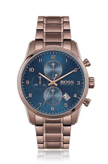 Blue-dial chronograph watch with link bracelet, Brown