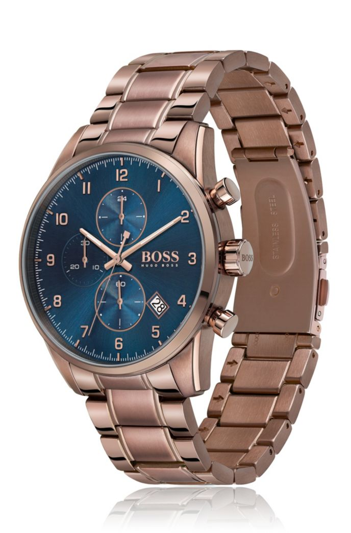 Blue-dial chronograph watch with link bracelet