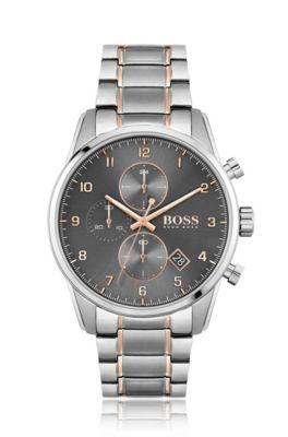 Chronograaf met grijze wijzerplaat en tweekleurige geschakelde polsband, Zilver