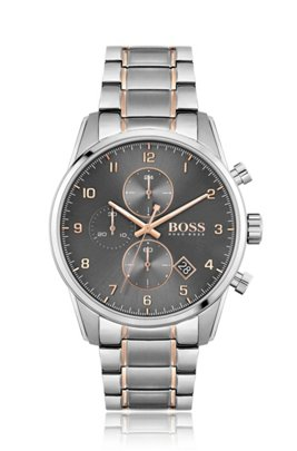 Grey-dial chronograph watch with gold-effect accents, Silver