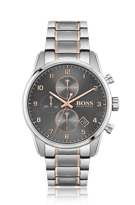 Cronografo con quadrante grigio e bracciale a maglie bicolore, Argento