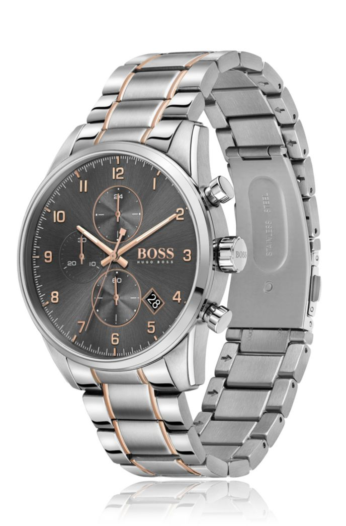 Grey-dial chronograph watch with gold-effect accents