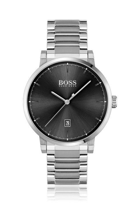Brushed and polished stainless-steel watch with link bracelet, Silver
