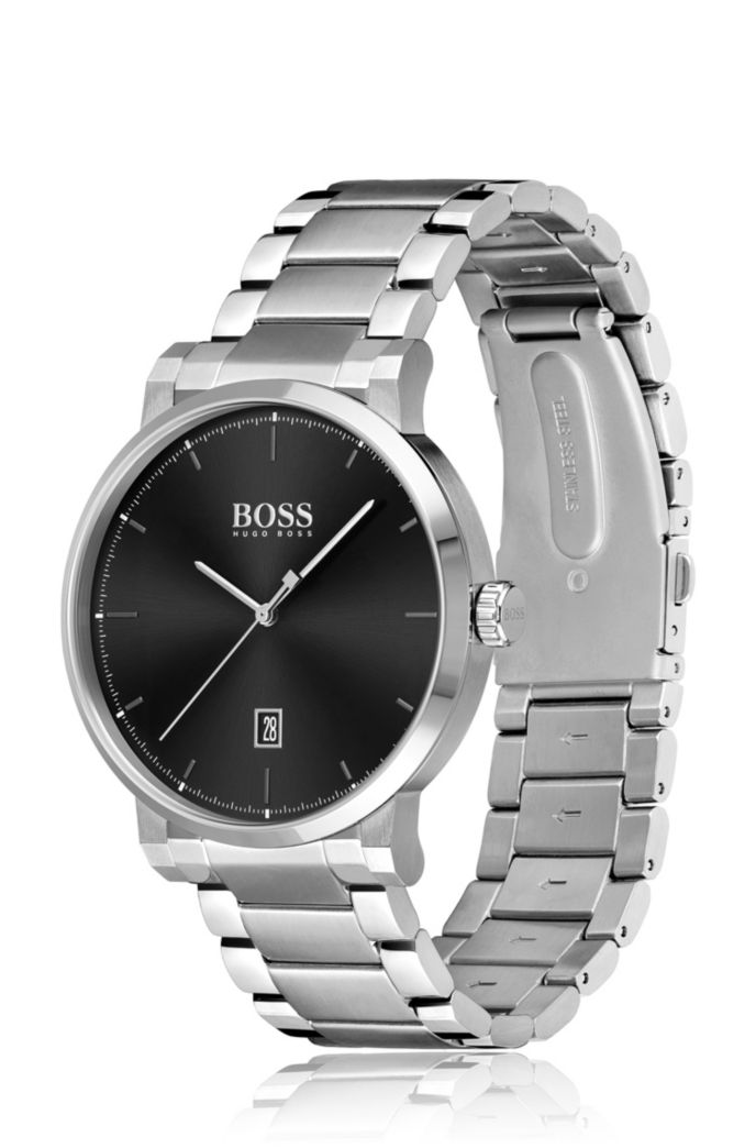 Brushed and polished stainless-steel watch with link bracelet