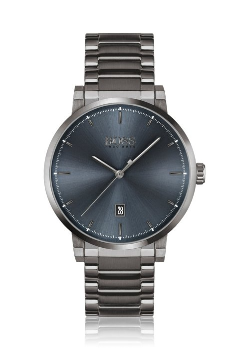 Montre plaquée grise avec cadran bleu et bracelet à maillons, Gris sombre