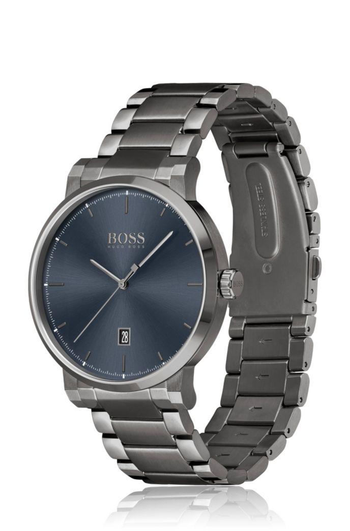 Horloge met grijze coating, blauwe wijzerplaat en geschakelde polsband