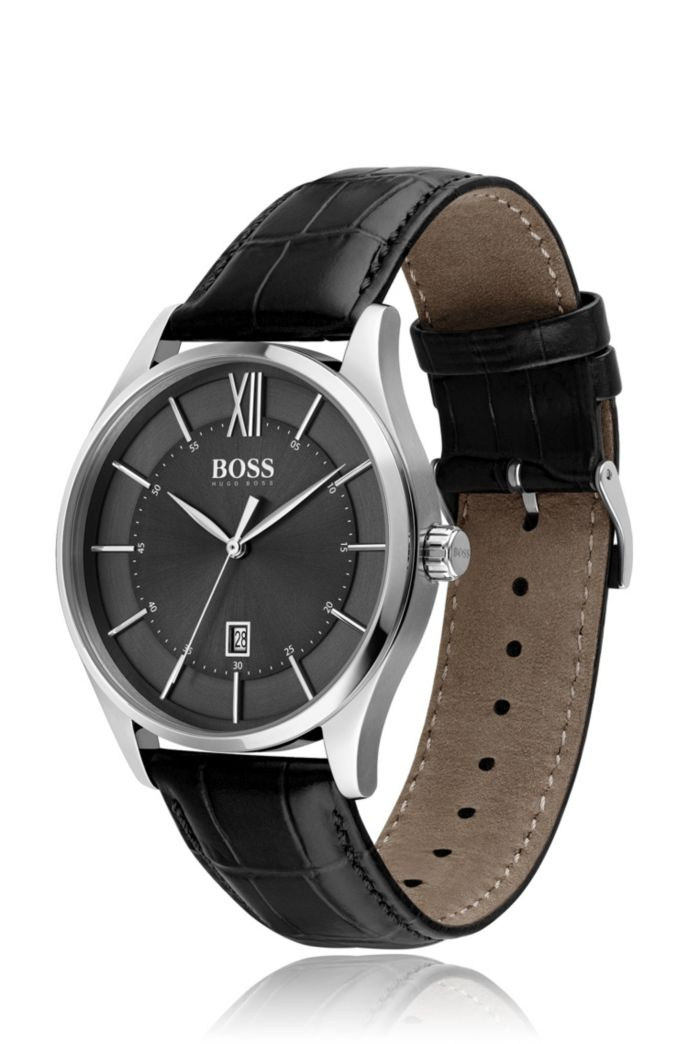 Stainless-steel watch with black dial and leather strap