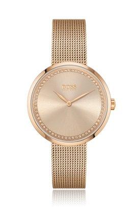 Reloj con adornos de cristal de Swarovski® y acabado en oro rojo, Oro