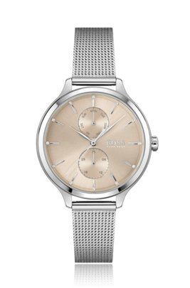 Mesh-bracelet watch with silver finish and Swarovski® crystals, Silver