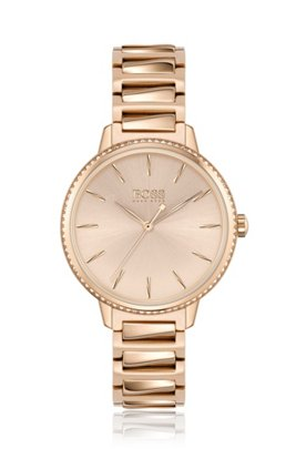 Swarovski®-crystal-trimmed watch with carnation-gold finish, Gold