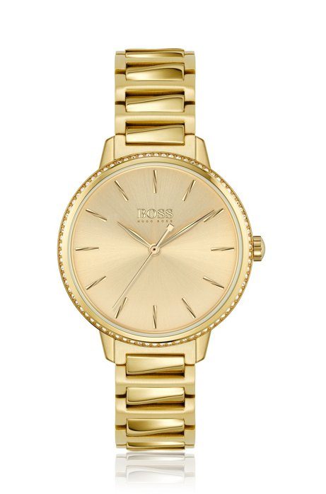 Signature Collection watch with with crystal-set bezel, Oro