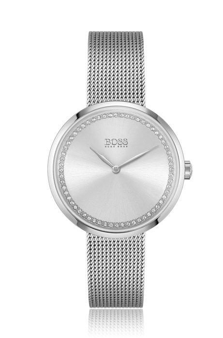 Uhr aus Edelstahl in polierter Silber-Optik mit Swarovski®-Kristallen, Silber