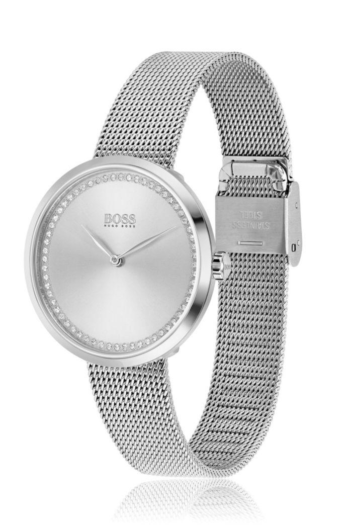 Horloge met decoraties van Swarovski®-kristal en gepolijst zilveren afwerking