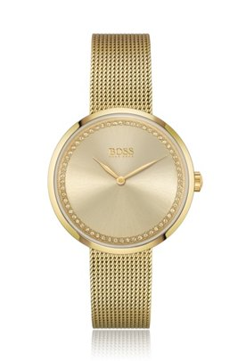 Swarovski®-crystal-trimmed watch with yellow-gold finish, Gold