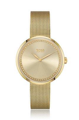 Reloj con bordes de cristal de Swarovski® y acabado dorado amarillo, Oro