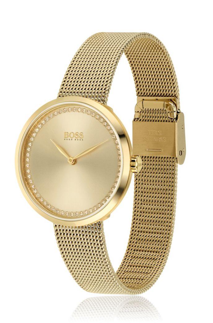 Reloj con bordes de cristal de Swarovski® y acabado dorado amarillo