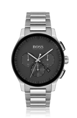 Link-bracelet chronograph watch with black dial, Silver
