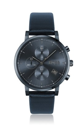 Blue-plated chronograph watch with tonal leather strap, Dark Blue