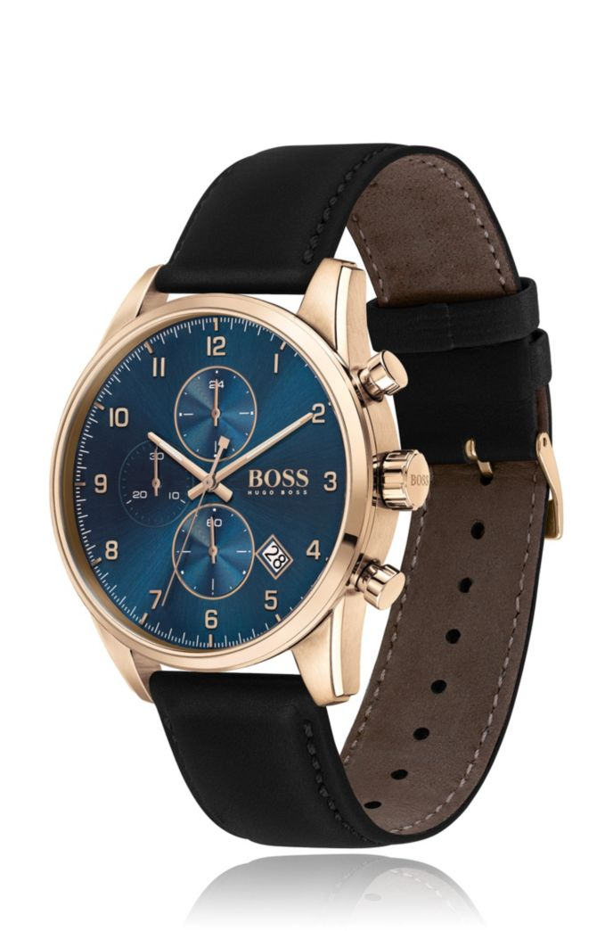 Carnation-gold-effect chronograph watch with black leather strap