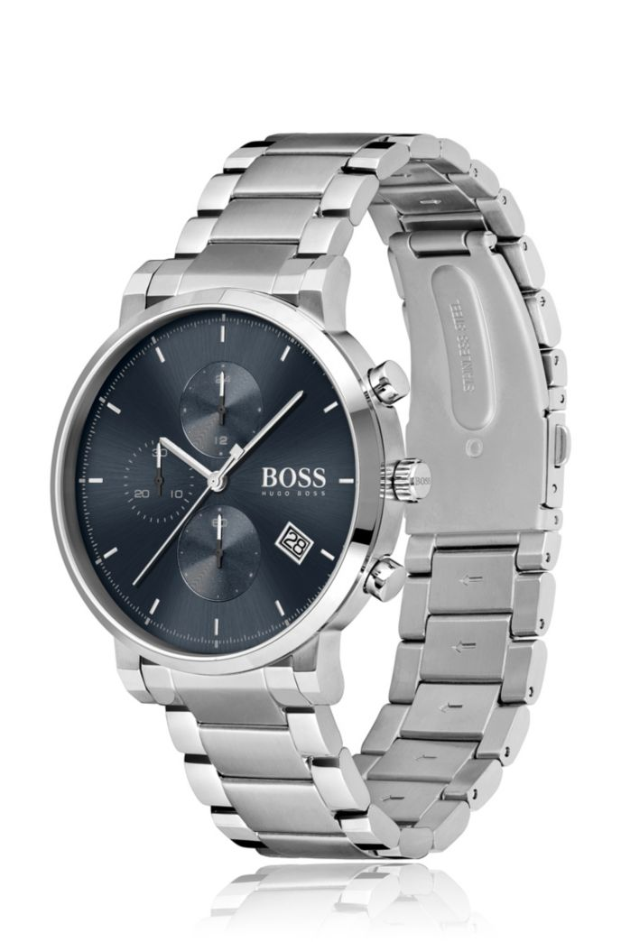 Stainless-steel chronograph watch with blue dial and link bracelet