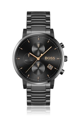 Black-plated chronograph watch with link bracelet, Black