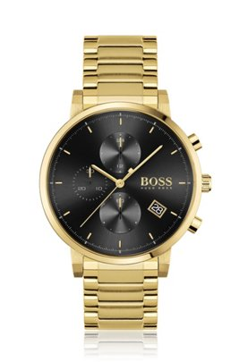Yellow-gold-effect chronograph watch with black dial, Gold
