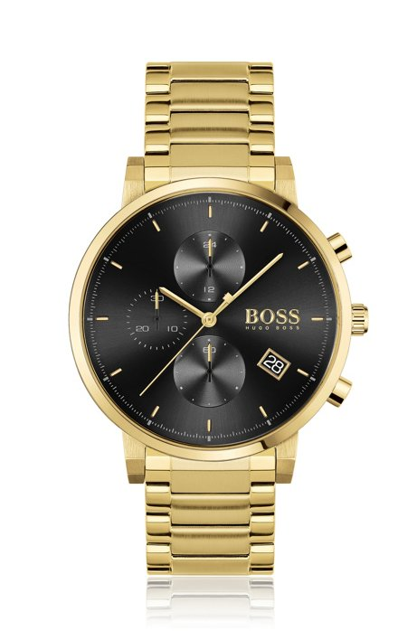 Contrast-dial chronograph watch with link bracelet, Gold