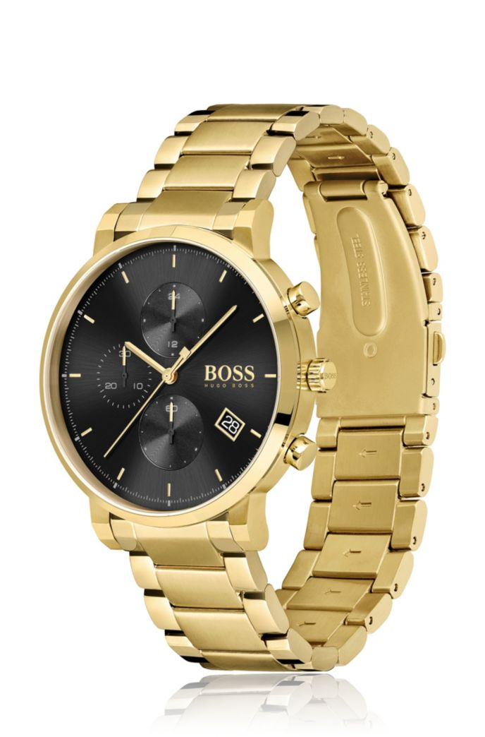 Yellow-gold-effect chronograph watch with black dial