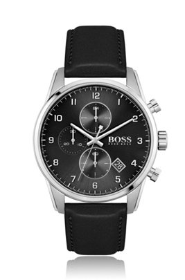 Black-dial chronograph watch with black leather strap, Black