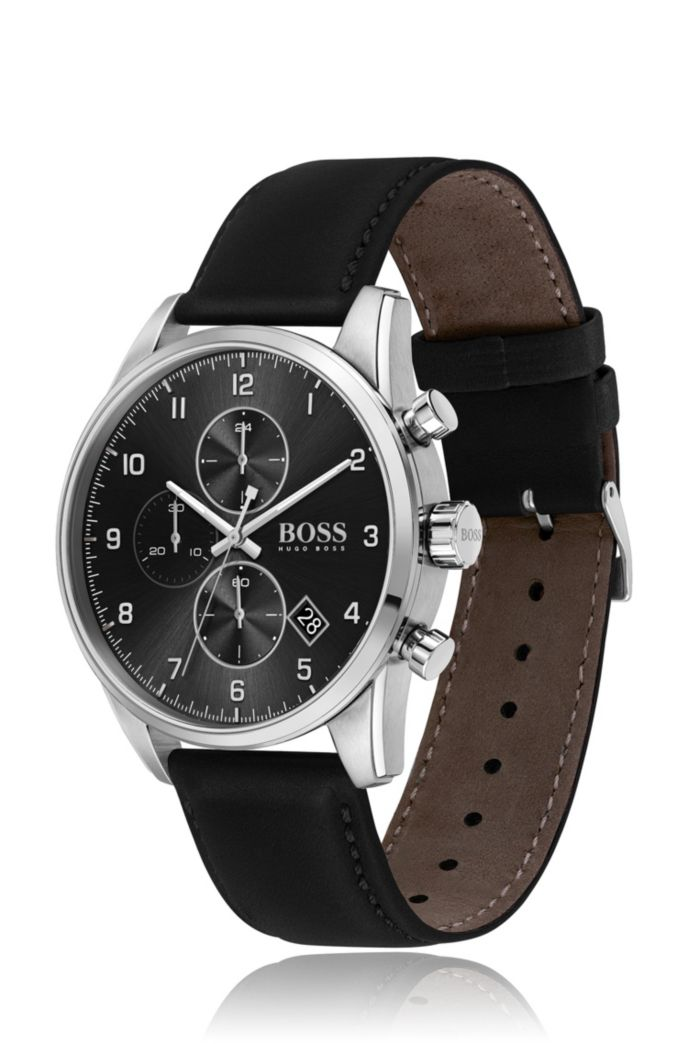Black-dial chronograph watch with black leather strap