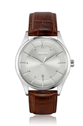 Stainless-steel watch with tonal dial and brown leather strap, Brown