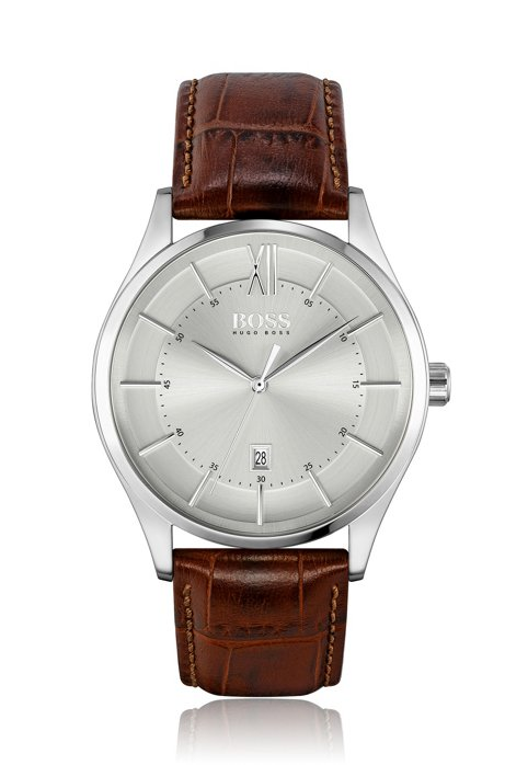 Brushed-dial watch with crocodile-embossed leather strap, Brown