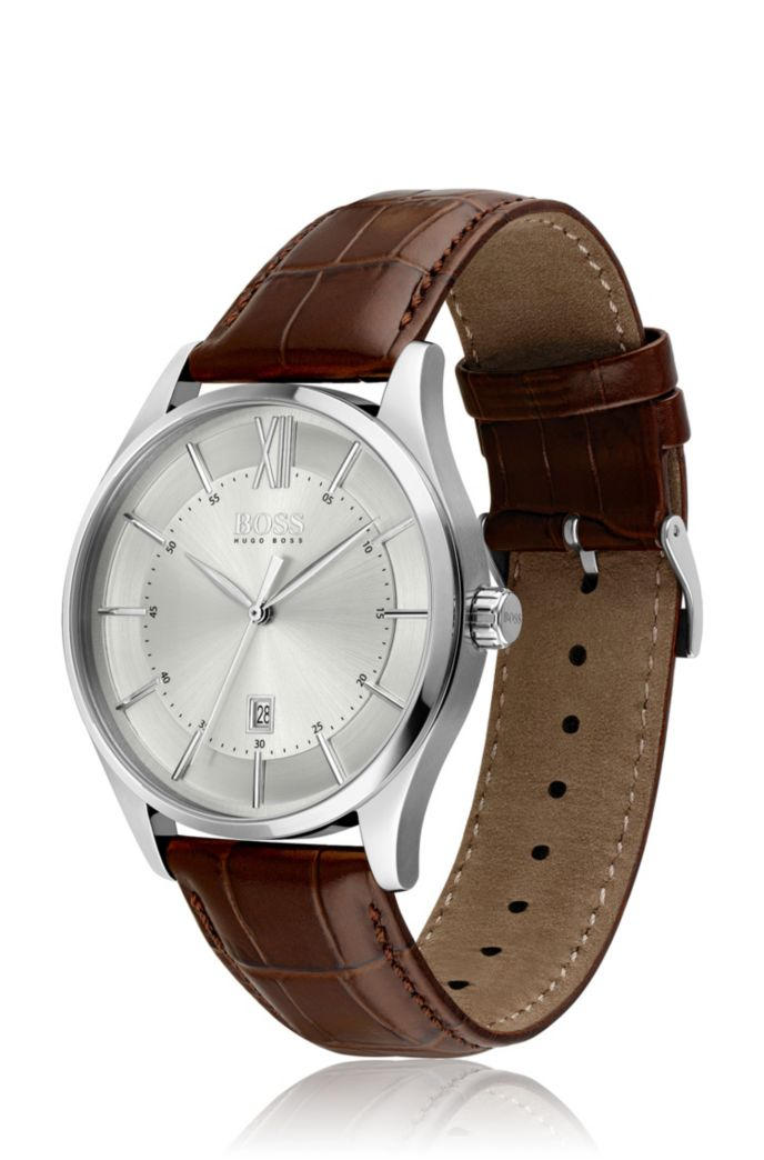 Stainless-steel watch with tonal dial and brown leather strap