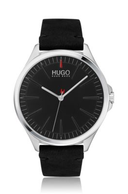 Stainless-steel watch with black dial and leather strap, Black