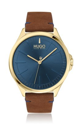 Yellow-gold-effect watch with blue dial, Brown