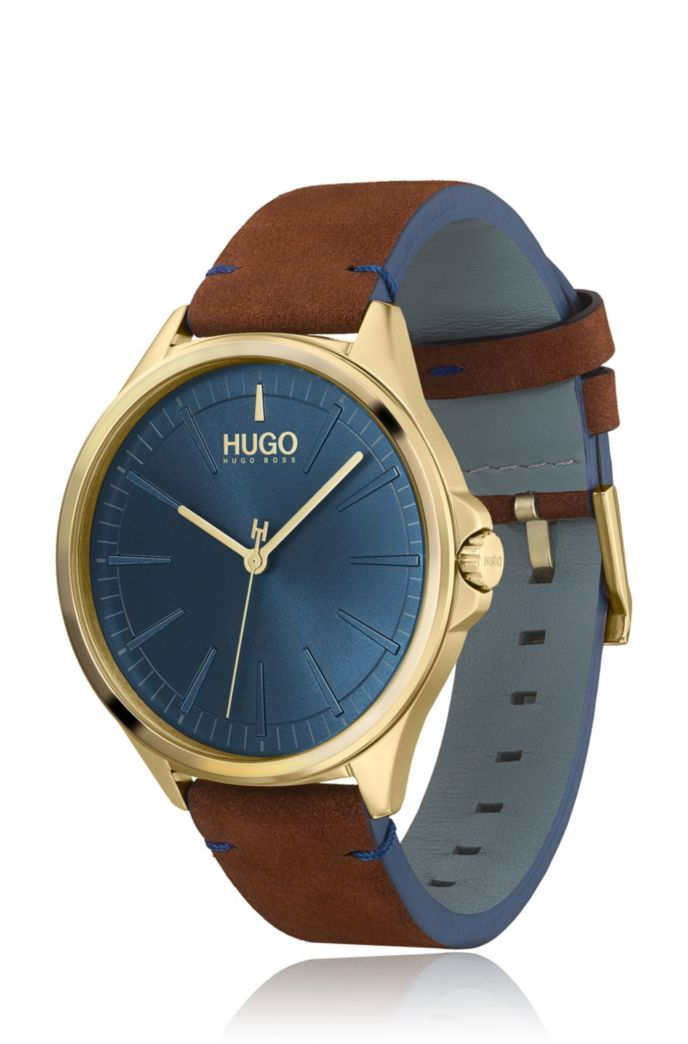 Yellow-gold-effect watch with blue dial