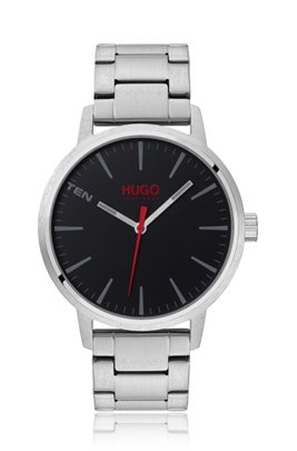 Brushed stainless-steel watch with black dial, Silver
