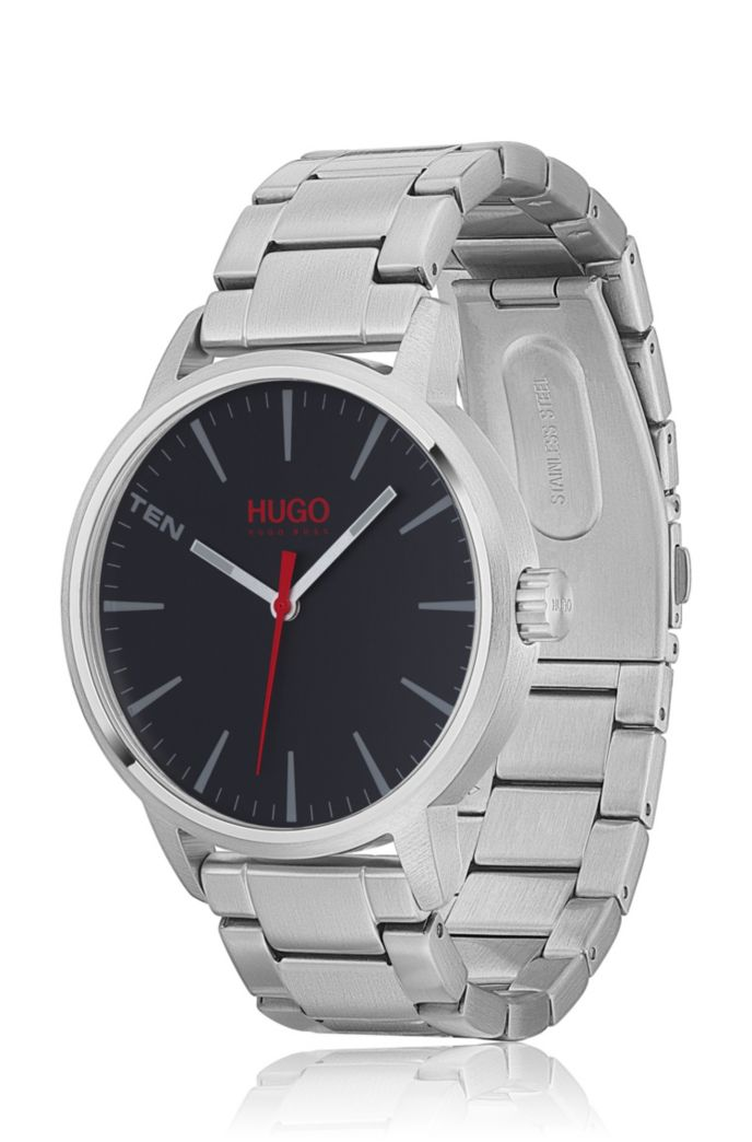 Brushed stainless-steel watch with black dial
