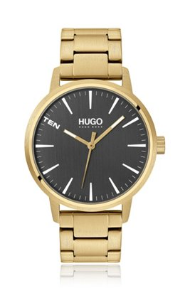 Yellow-gold-effect watch with grey dial, Gold