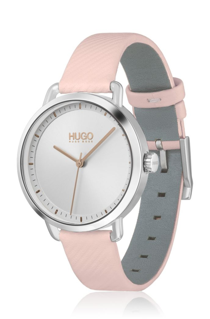 Stainless-steel watch with embossed strap in pink leather
