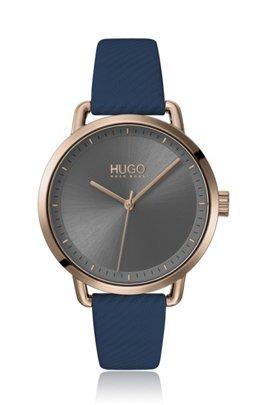 Beige-gold-effect watch with blue leather strap, Dark Blue