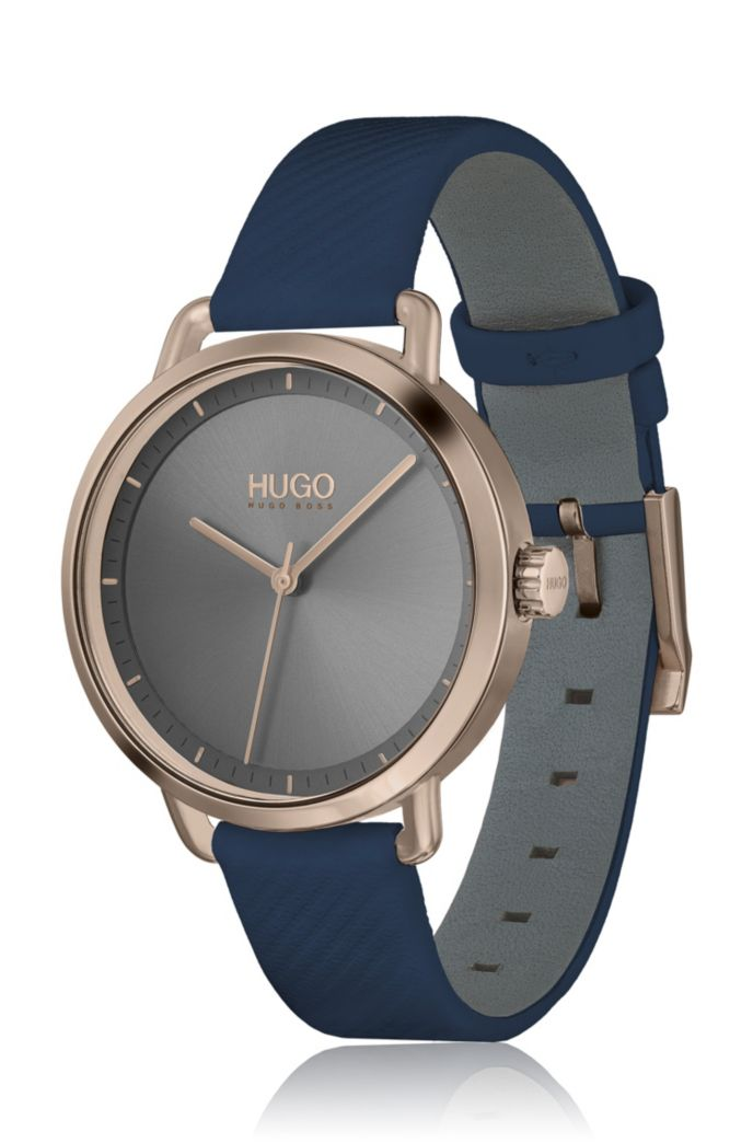 Grey-dial watch with beige-gold finish