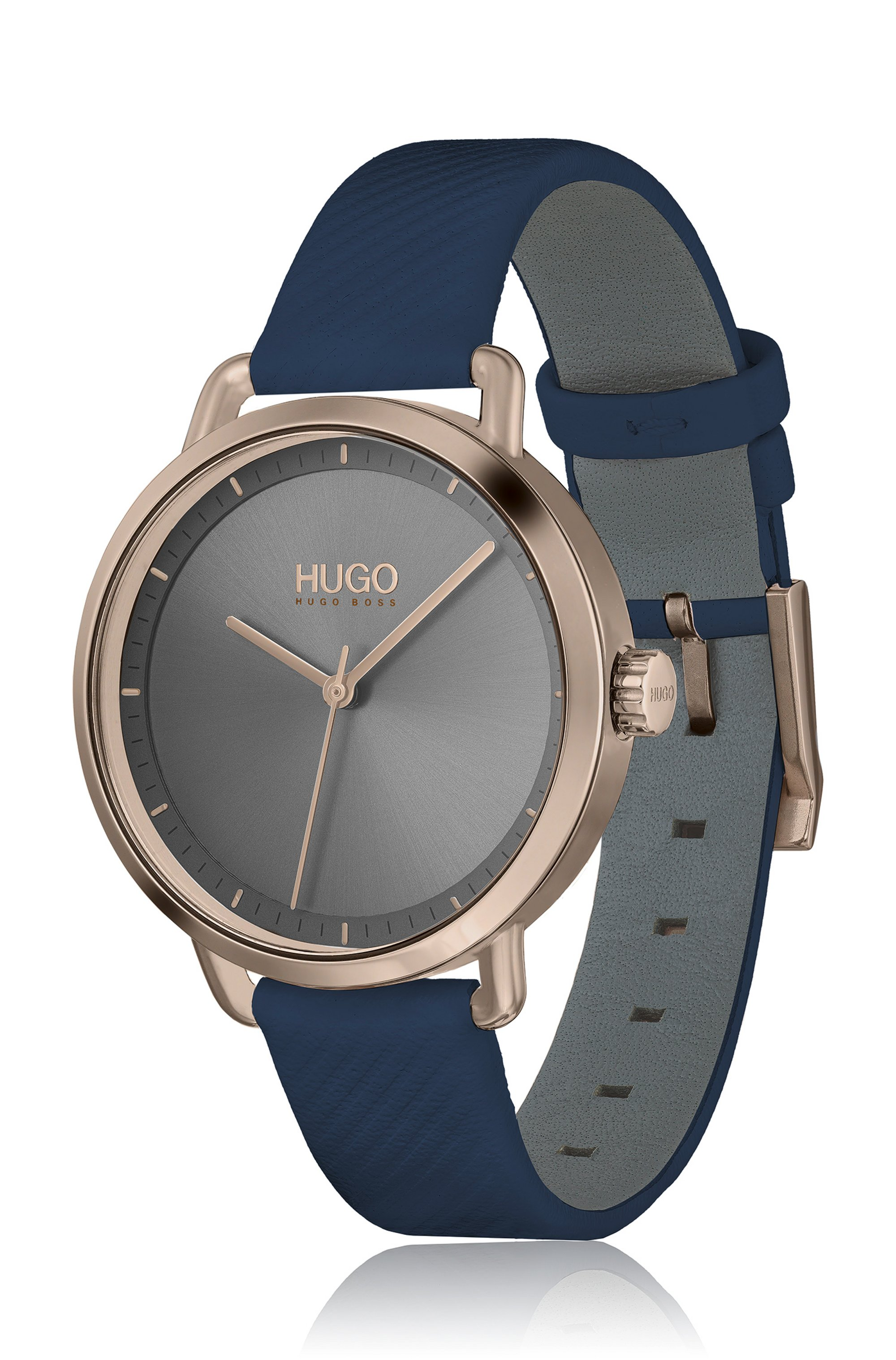 Beige-gold-effect watch with blue leather strap